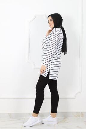 kombinal 03232 Kadın  Süprem Kumaş Çizgili Tunik - Beyaz 1