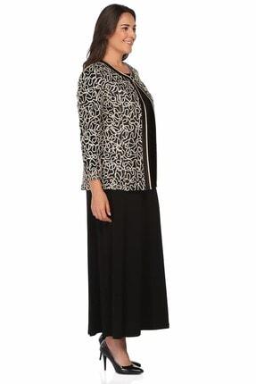 Ladies First Büyük Beden 2933 Siyah Elbiseli Takım 2