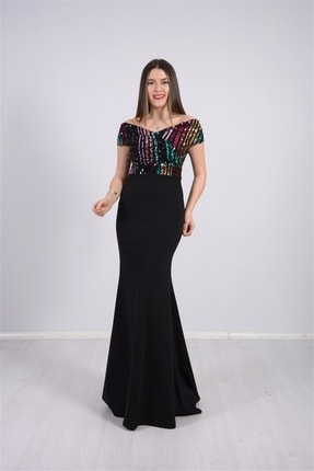 giyimmasalı Üstü Payet Altı Krep Balık Abiye Elbise - Siyah 0