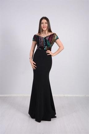 giyimmasalı Üstü Payet Altı Krep Balık Abiye Elbise - Siyah 1