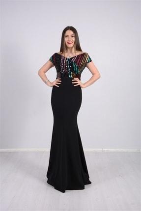 giyimmasalı Üstü Payet Altı Krep Balık Abiye Elbise - Siyah 3