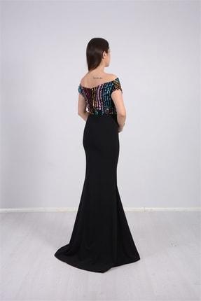 giyimmasalı Üstü Payet Altı Krep Balık Abiye Elbise - Siyah 4