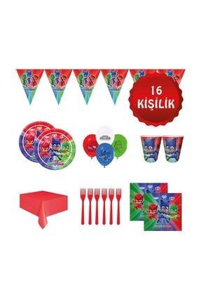 Parti Furyası Pj Masks Pijamaskeliler Pijamaske 16 Kişilik Doğum Günü Parti Süsleri Seti 0