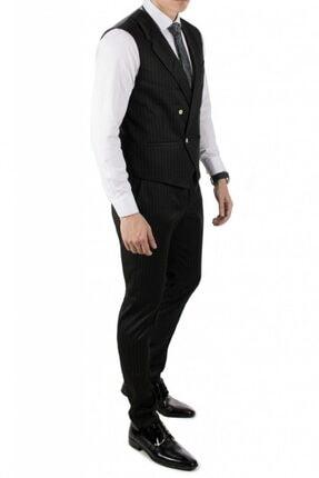 DeepSea Erkek Siyah Çizgili Klasik Erkek Kumaş Pantolon 0