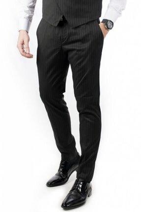 DeepSea Erkek Siyah Çizgili Klasik Erkek Kumaş Pantolon 2