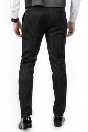 DeepSea Erkek Siyah Çizgili Klasik Erkek Kumaş Pantolon 3
