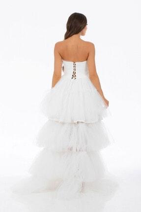 6ixty8ight Ekru Tül Fırfırlı Uzun Abiye Elbise 2