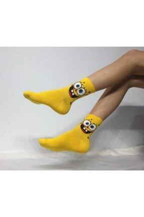 Adel Kokulu Unisex Sünger Bob Desenli Kolej Çorabı 0