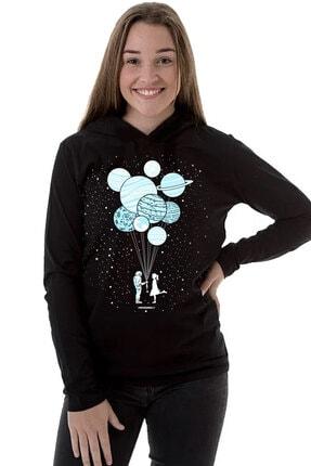 تصویر از Balon Gezegenler Siyah Kapşonlu Uzun Kollu  Kadın T-shirt