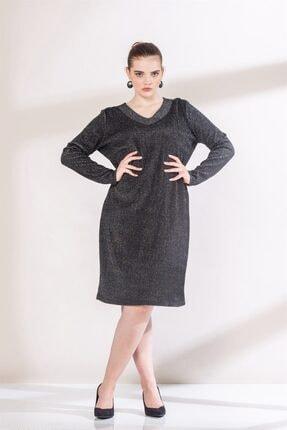 Rmg Kadın Siyah Yaka Detaylı Simli Büyük Beden Triko Elbise 0