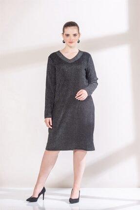 Rmg Kadın Siyah Yaka Detaylı Simli Büyük Beden Triko Elbise 2