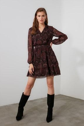 TRENDYOLMİLLA Bordo Kuşaklı Elbise TWOAW21EL1635 0