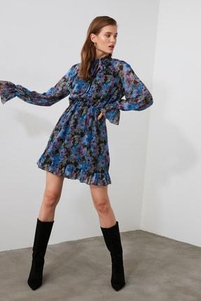 TRENDYOLMİLLA Çok Renkli Desenli Fular Yaka Elbise TWOAW21EL1664 0