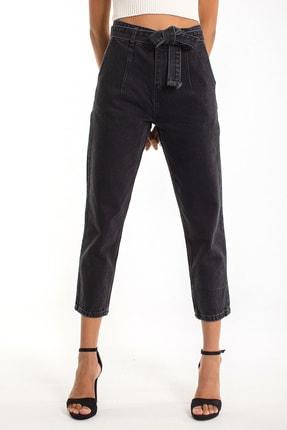 Denim Republic Kadın Siyah Kemerli Yüksek Bel Mom Jeans 0