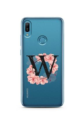 Spoyi Pembe Çiçekli Harf Tasarım Süper Şeffaf Silikon Telefon Kılıfı Huawei P30 W-harfi 0