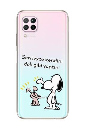 Spoyi Snoopy Tasarımlı Süper Şeffaf Silikon Telefon Kılıfı Huawei P40 Lite 0