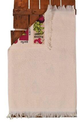Nur iş havlu Beyaz Kadife Saçaklı Sebzeler Baskılı Mutfak Havlusu 2'li 40x60 2