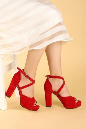 Ayakland Kadın Kırmızı Süet Abiye 11 cm Platform Topuk Sandalet Ayakkabı 3210-2058 1