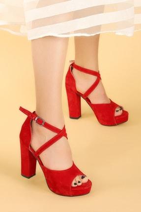 Ayakland Kadın Kırmızı Süet Abiye 11 cm Platform Topuk Sandalet Ayakkabı 3210-2058 2