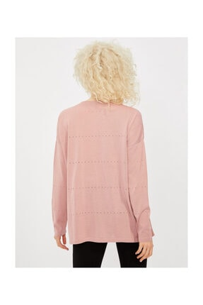 Vekem Kadın Pembe V Yaka Ajurlu Triko Bluz 1