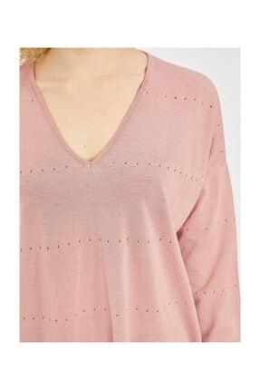 Vekem Kadın Pembe V Yaka Ajurlu Triko Bluz 3