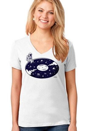 تصویر از 45lik Uzay Beyaz V Yaka Kısa Kollu T-shirt
