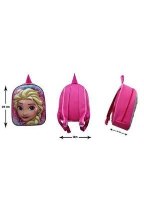 Frozen Kız Çocuk Pembe 5d Parlak Kabartmalı Anaokulu ve Günlük Kullanım Sırt Çantası 1