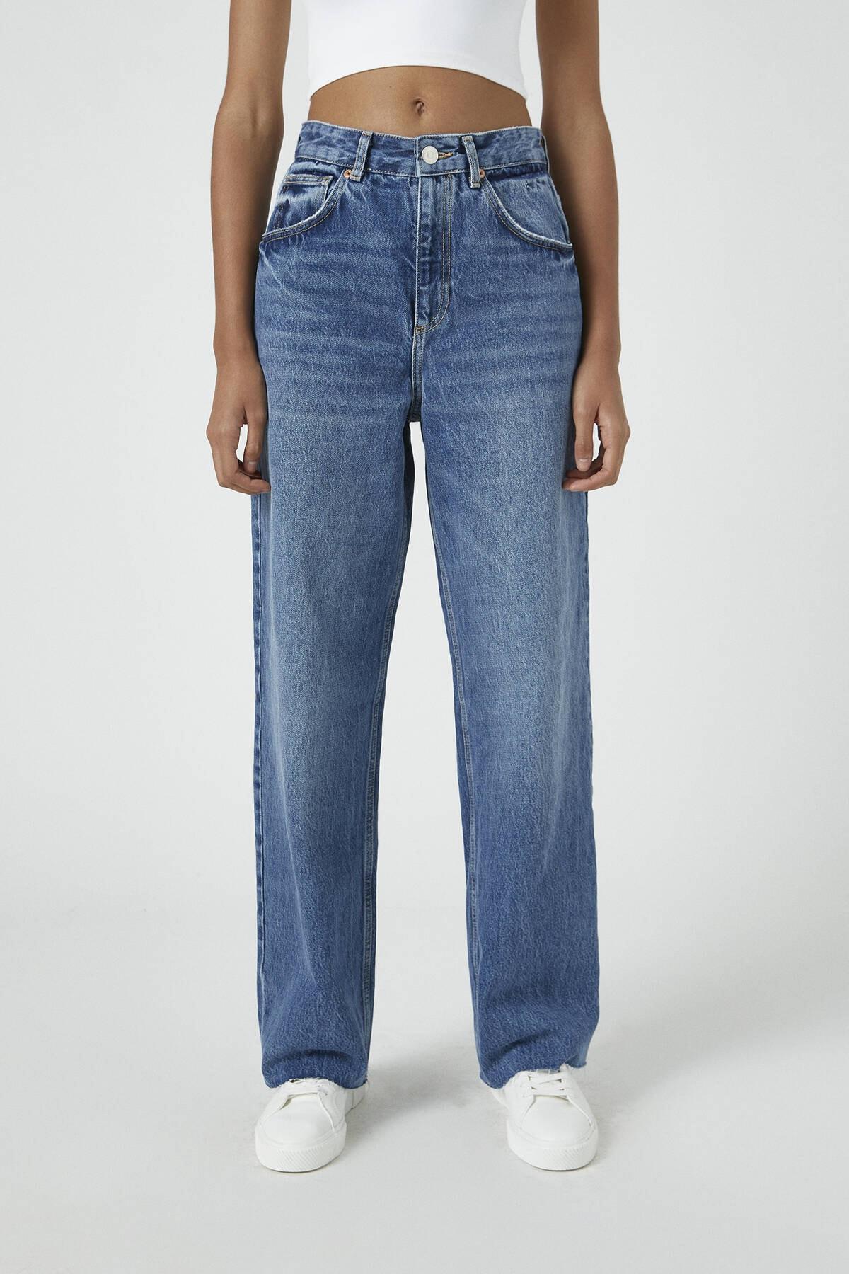 Pull & Bear Kadın Mavi Süper Yüksek Bel Geniş Paça Jean 09683325 3