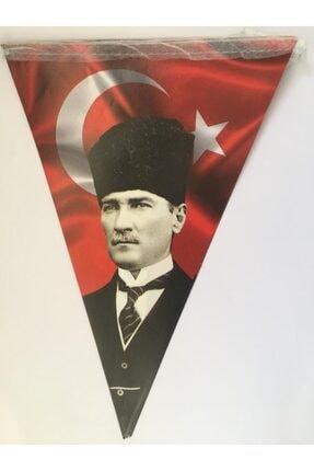 PartiVar Atatürk Baskılı Türk Bayraklı Üçgen Flama 0