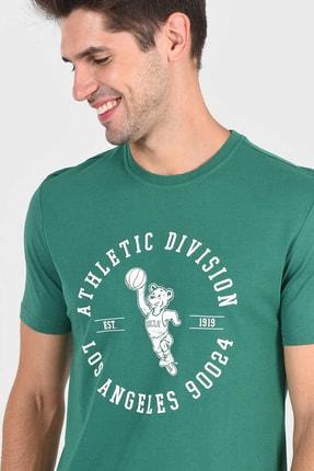 Ucla ADELANTO Yeşil Bisiklet Yaka Baskılı Erkek Tshirt 0