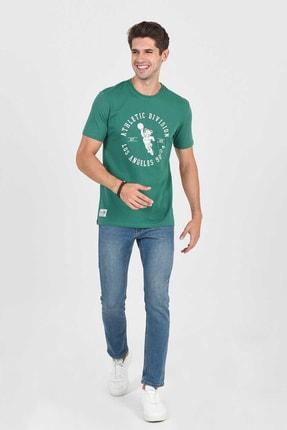 Ucla ADELANTO Yeşil Bisiklet Yaka Baskılı Erkek Tshirt 2