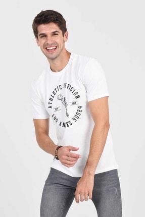 Ucla ADELANTO Beyaz Bisiklet Yaka Baskılı Erkek Tshirt 1
