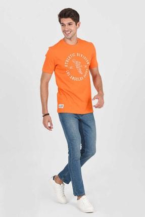 Ucla ADELANTO Turuncu Bisiklet Yaka Baskılı Erkek Tshirt 2