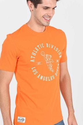 Ucla ADELANTO Turuncu Bisiklet Yaka Baskılı Erkek Tshirt 3