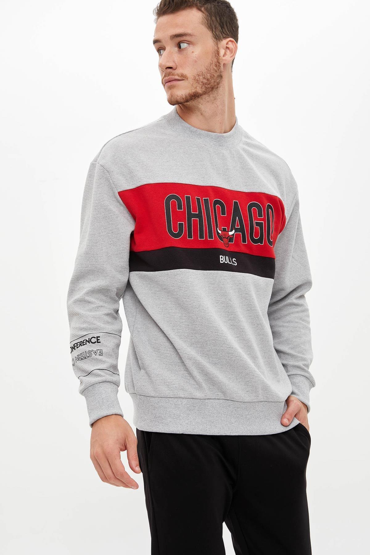 Defacto Unisex Gri Nba Lisanslı Oversize Fit Sweatshirt 1