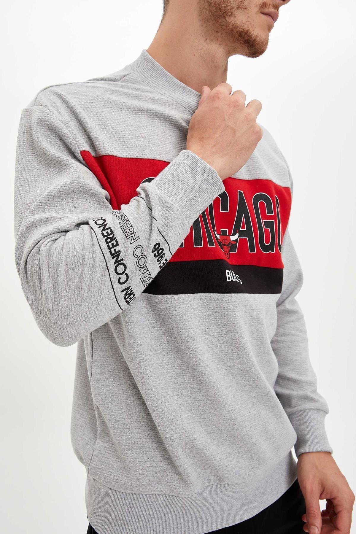 Defacto Unisex Gri Nba Lisanslı Oversize Fit Sweatshirt 4