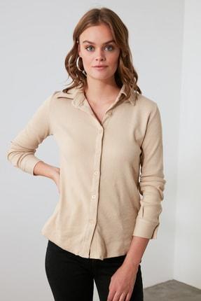 TRENDYOLMİLLA Bej Basic Örme Gömlek TWOAW21GO0301 2