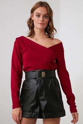 TRENDYOLMİLLA Bordo Yaka Detaylı Örme Bluz TWOAW21BZ0500 2