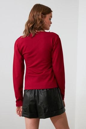 TRENDYOLMİLLA Bordo Yaka Detaylı Örme Bluz TWOAW21BZ0500 3