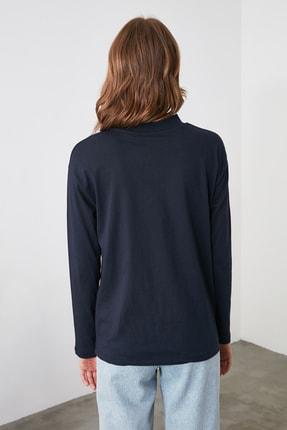 TRENDYOLMİLLA Lacivert Uzun Kollu Dik Yaka Örme T-Shirt TWOAW20TS0233 3