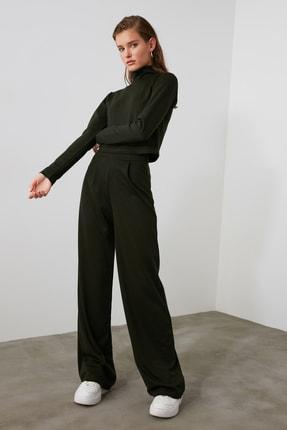 TRENDYOLMİLLA Haki Flare Örme Pantolon TWOAW21PL0480 2