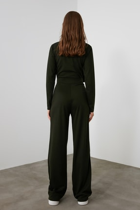 TRENDYOLMİLLA Haki Flare Örme Pantolon TWOAW21PL0480 3