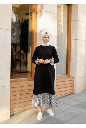 ELBİCA Kadın  Siyah Beli Kuşaklı Cepli Ekose Desen Elbise 3