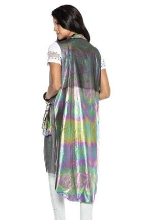 Cipo&Baxx Kadın Gümüş Renk Transparan Detaylı Uzun Yelek 3