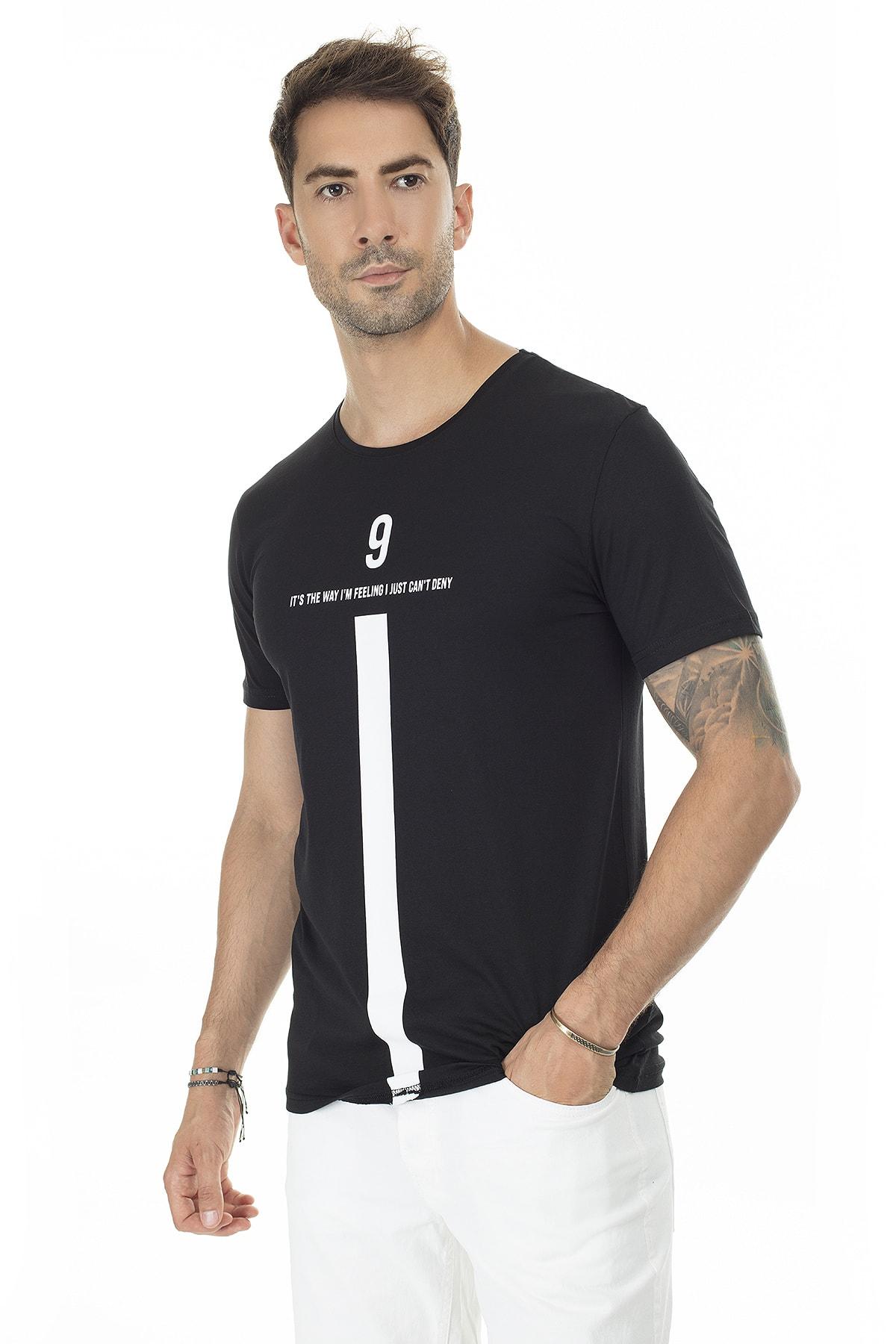 Buratti Erkek SİYAH Ön Beden Baskılı Bisiklet Yaka Pamuklu T Shirt 5721005 3