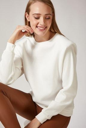 Happiness İst. Kadın Beyaz Vatkalı Slim Crop Sweatshirt BP00036 0