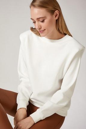 Happiness İst. Kadın Beyaz Vatkalı Slim Crop Sweatshirt BP00036 1