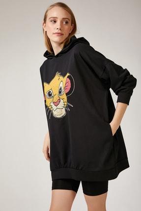 Happiness İst. Kadın Siyah Baskılı Kapüşonlu Uzun Oversize Sweatshirt Lİ00038 1