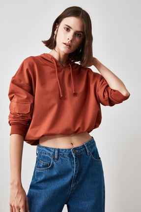 TRENDYOLMİLLA Tarçın Cep Detaylı  Basic Örme Sweatshirt TWOAW20SW0188 4
