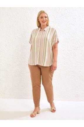 LC Waikiki Kadın Pembe Çizgili Gömlek 1
